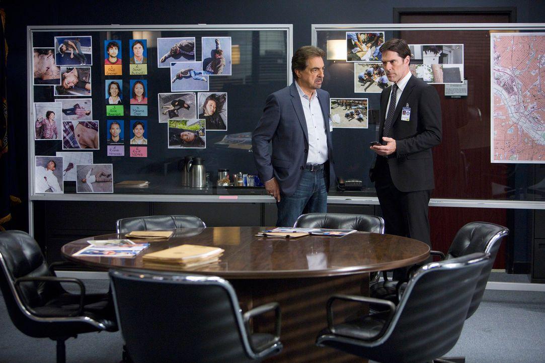 Ein Heckenschütze tötet in einem Einkaufszentrum in Dallas, Texas, sechs Menschen. Hotch (Thomas Gibson, r.) und Rossi (Joe Mantegna, l.) beginnen s... - Bildquelle: ABC Studios