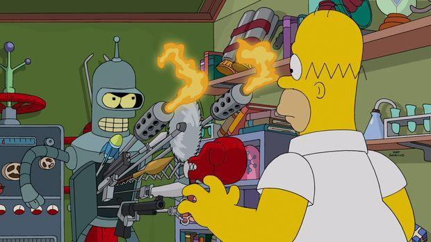 Anfangs ist Homer (r.) noch zutiefst beeindruckt von Benders (l.) technischen...