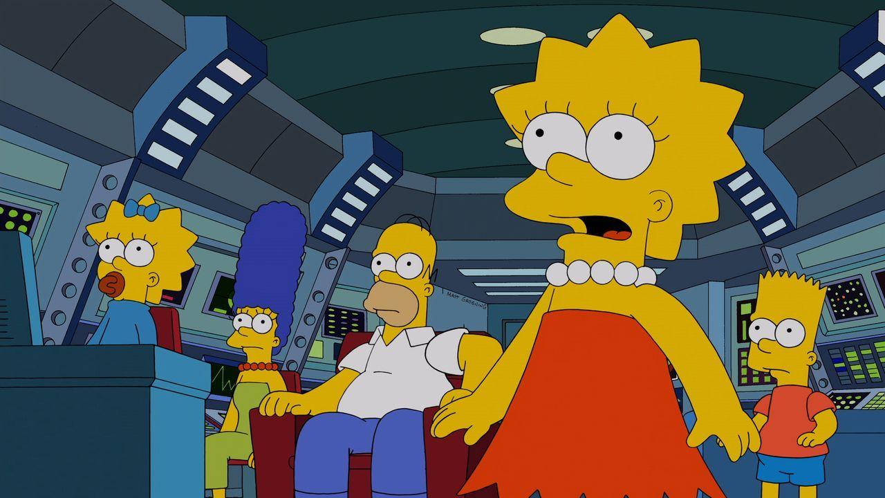 Die anfängliche Begeisterung weicht, als Lisa (2.v.r.), Bart (r.), Maggie (l.), Marge (2.v.l.) und Homer (M.) herausfinden, wo sie sind ... - Bildquelle: 2014 Twentieth Century Fox Film Corporation. All rights reserved.