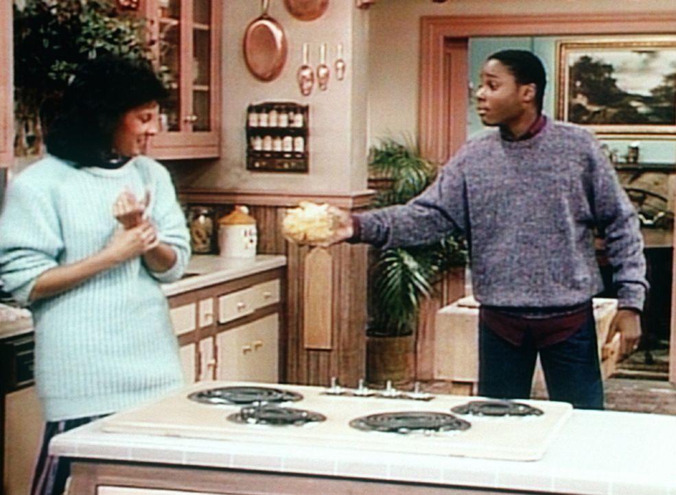 Theo (Malcolm-Jamal Warner, r.) will seiner ältesten Schwester Sondra (Sabrina LeBeauf, l.) etwas andrehen, das sie als unidentifizierbar ablehnt. - Bildquelle: Viacom