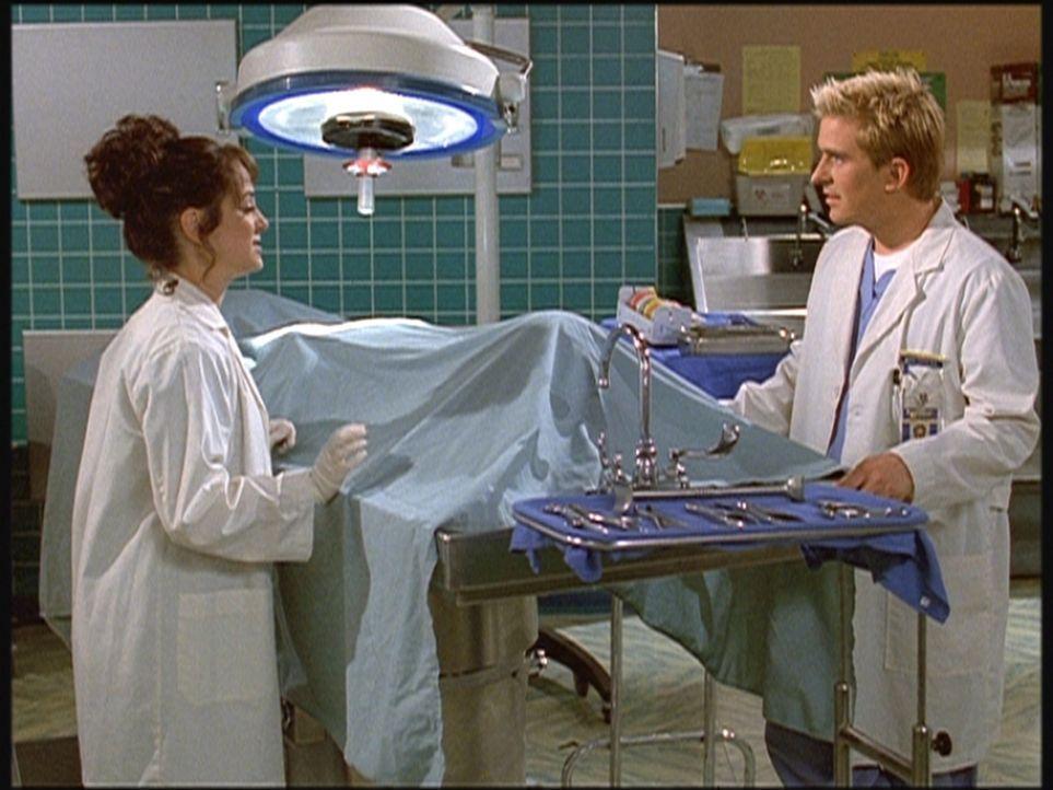 Ellie (Melissa Greenspan, l.), eine quirlige Medizinstudentin, erklärt Jesse (Charlie Schlatter, r.), dass ihre große Leidenschaft das Komponieren u... - Bildquelle: Viacom