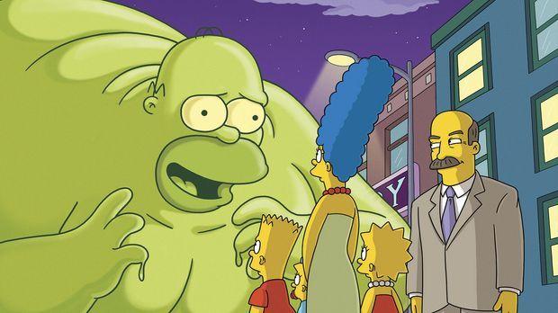 Ein Meteorit ist in den Garten der Simpsons. Aus ihm entweicht eine grüne Mas...