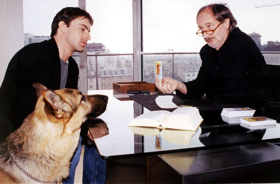 Kommissar Brandtner (Gedeon Burkhard, l.) und Rex lassen sich bei einem Parapsychologen (Michael Schottenberg, r.) über Tarot und Kartenlegen aufkl... - Bildquelle: Sat.1