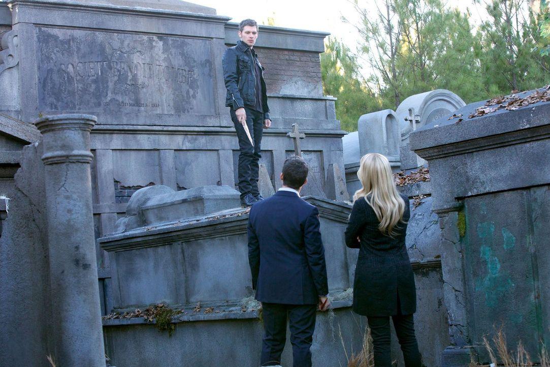 Rebekah (Claire Holt, r.) und Klaus (Joseph Morgan, l.) machen sich gegenseitig Vorwürfe, doch Elijah (Daniel Gillies, M.) versucht bis zum Schluss,... - Bildquelle: Warner Bros. Television