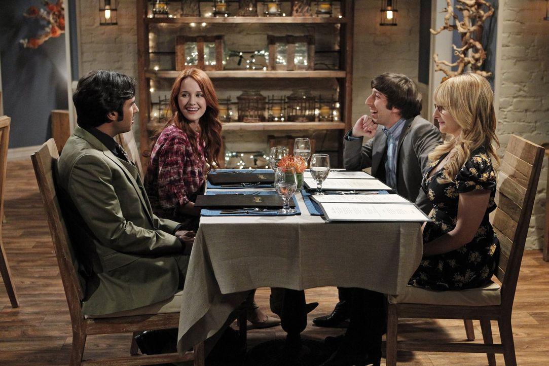Ein Doppeldate zwischen Raj (Kunal Nayyar, l.), Emily (Laura Spencer, 2.v.l.), Howard (Simon Helberg, 2.v.r.) und Bernadette (Melissa Rauch, r.) end... - Bildquelle: Warner Brothers