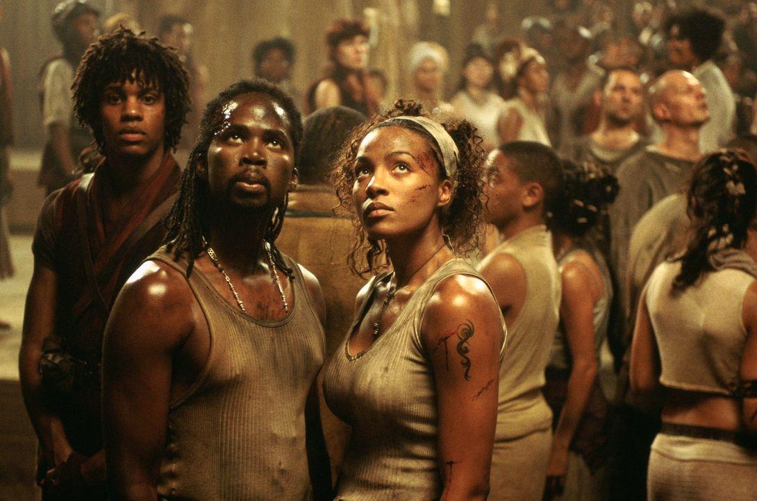 Verzweifelt versuchen die Zion-Soldaten mit Hilfe mutiger Zivilisten wie Zee (Nona Gaye, r.) und Link (Harold Perrineau, l.) die Invasion der Wächte... - Bildquelle: Warner Bros.