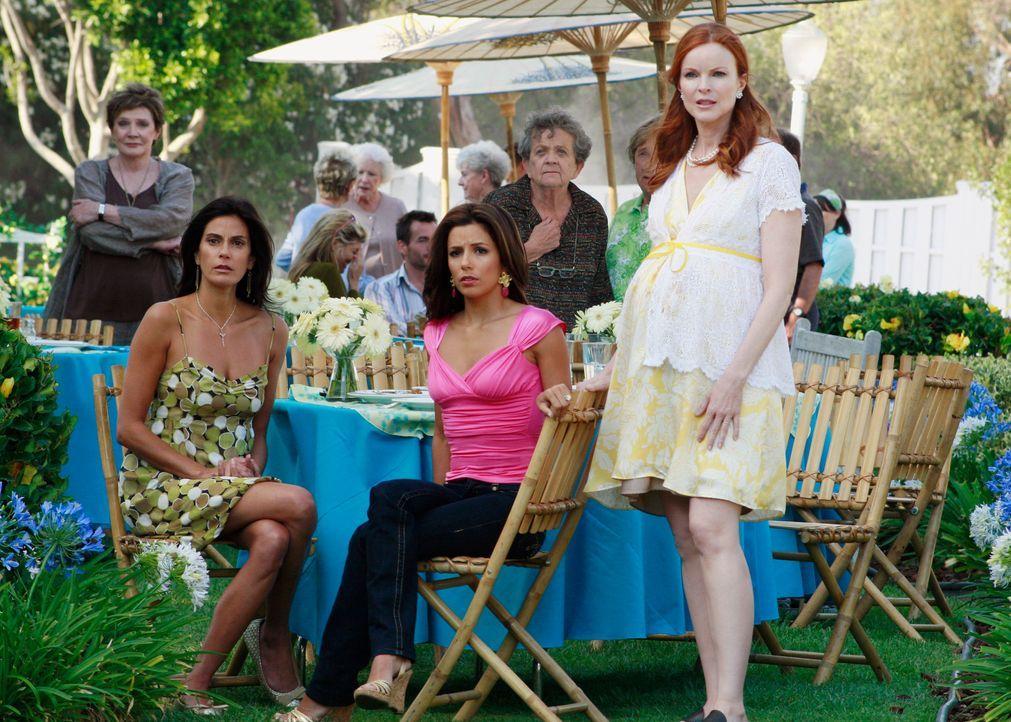 Bree (Marcia Cross, vorne r.), Gabrielle (Eva Longoria, vorne M.) und Susan (Teri Hatcher, vorne l.) sind entsetzt, als sie erfahren, dass Lynette a... - Bildquelle: ABC Studios