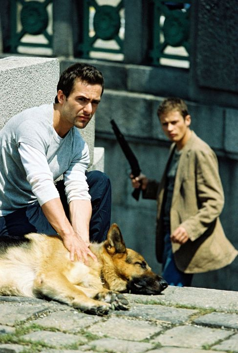 Huneck (Roman Knizka, r.) rächt sich an Rex und schießt ihn an. Auch Marc (Alexander Pschill, l.) verletzt sich ... - Bildquelle: Ali Schafler Sat.1