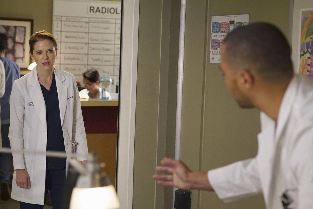 Geraten wegen der einstweilige Verfügung, die April (Sarah Drew, l.) gegen Jackson (Jesse Williams, r.) erwirkt hat, aneinander ... - Bildquelle: Eric McCandless ABC Studios