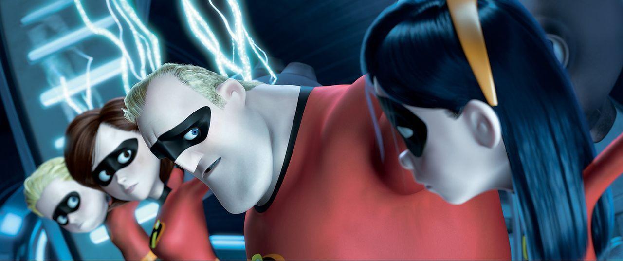 Familie Parr steckt ganz schön in der Klemme. Können sie sich aus den Fängen von dem fiesen Syndrome befreien? Flash (l.), Elastigirl (2.v.l.), M... - Bildquelle: Disney/Pixar. All rights reserved