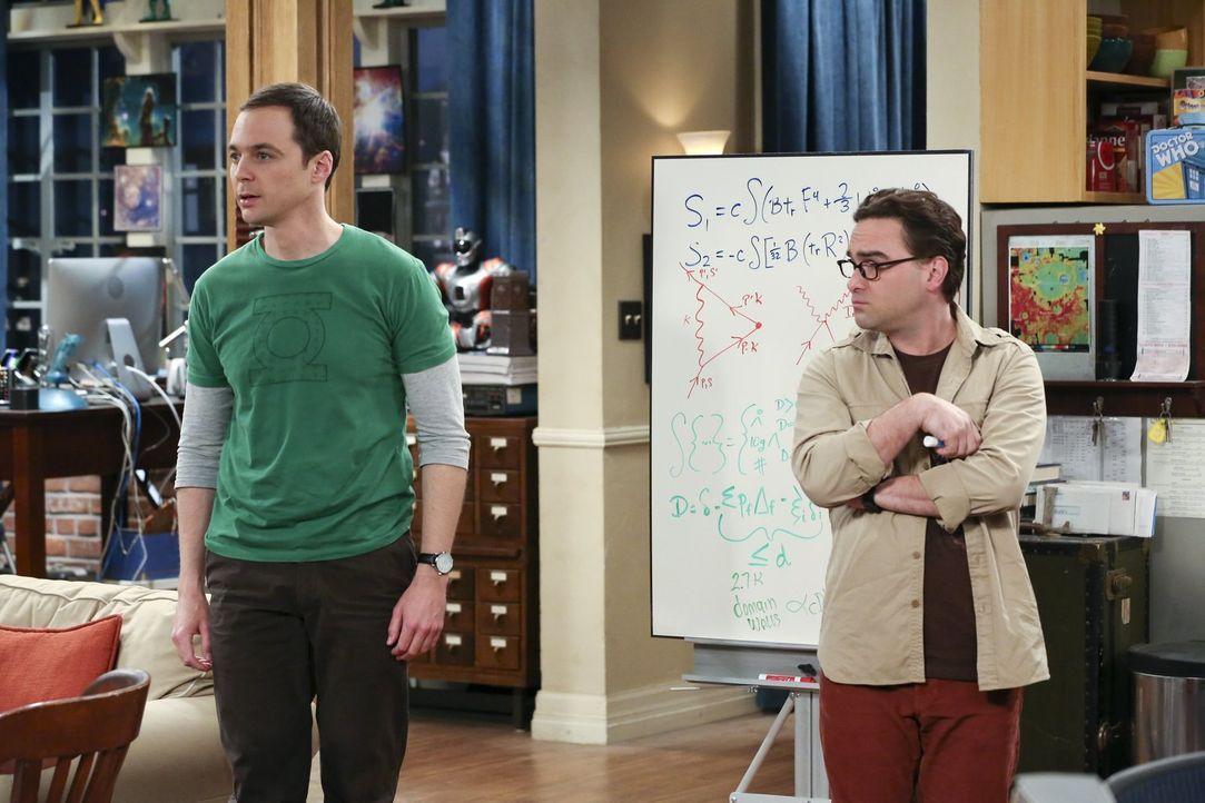 Sheldon (Jim Parsons, l.) hat einen Ohrwurm, der ihn in den Wahnsinn treibt, weil er nicht drauf kommt um welches Lied es sich handelt. Penny und Le... - Bildquelle: 2015 Warner Brothers
