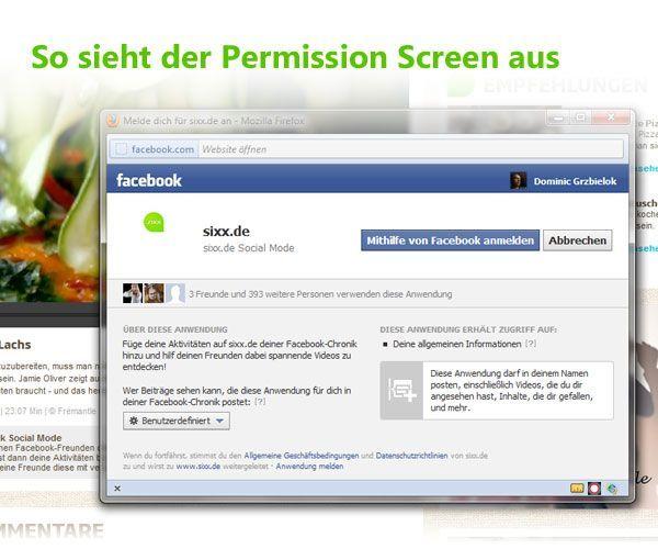 So sieht der Facebook-Permission-Dialog aus - Bildquelle: ProSiebenSat.1 Digital