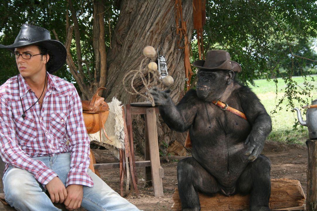 Zooranger Moes (Jon Karthaus) hat ein großes Problem mit einem Affen ...