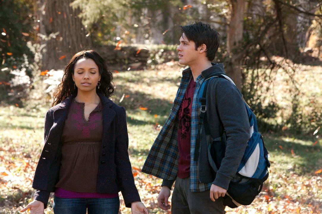 Bonnie (Katerina Graham, l.) arbeitet mit Damon und Jeremy (Steven R. McQueen, r.) zusammen, um einen Zauber zu finden, wodurch sie Zugriff auf die... - Bildquelle: Warner Bros. Television