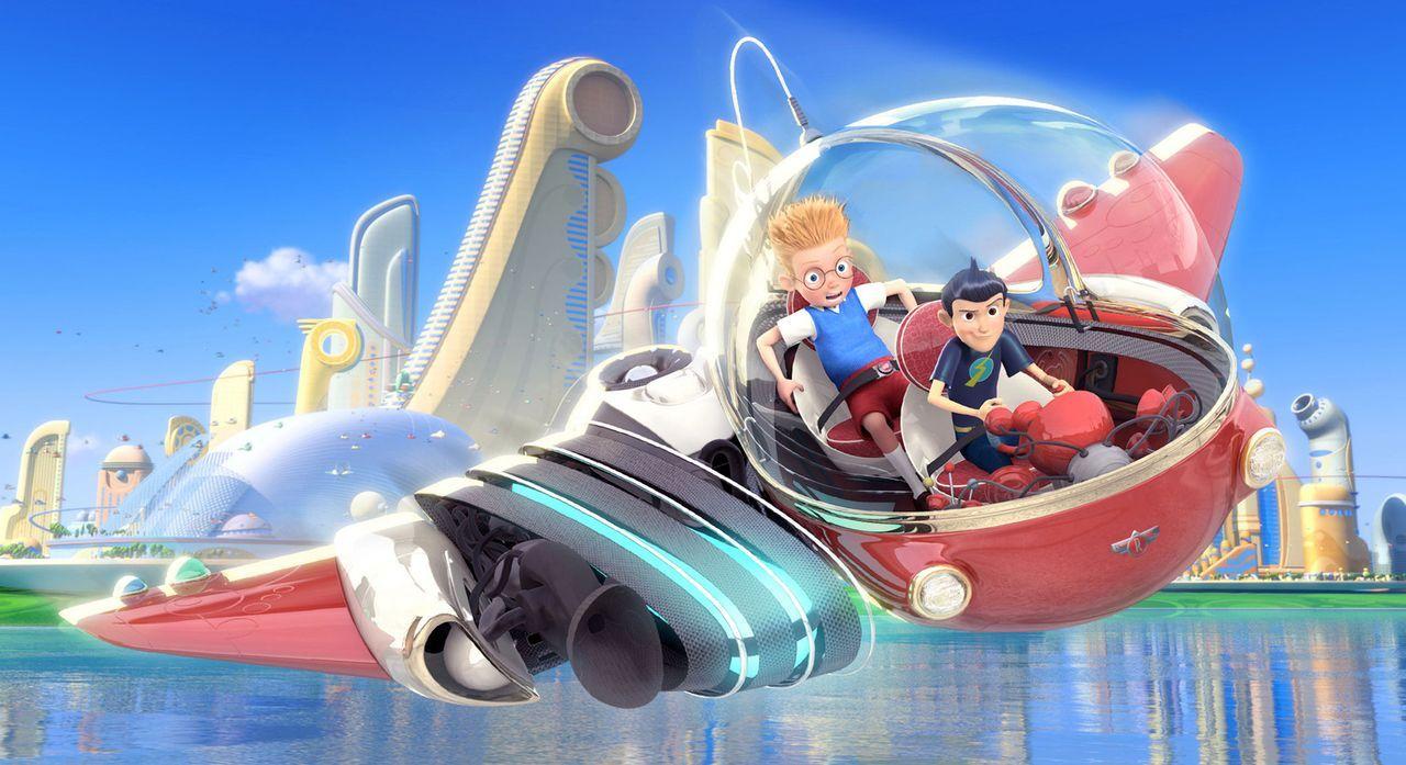 Waisenjunge Lewis (l.) und sein geheimnisvoller Freund Wilbur Robinson (r.) erleben ein großes Abenteuer ... - Bildquelle: Disney Enterprises, Inc. All rights reserved