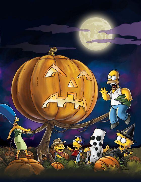 Der Tod kommt dreimal: Marge (l.), Homer (oben), Lisa (r.), Bart (2.v.r.), Milhouse (M.) und Ralph Wiggum (2.v.l.) ... - Bildquelle: und TM Twentieth Century Fox Film Corporation - Alle Rechte vorbehalten