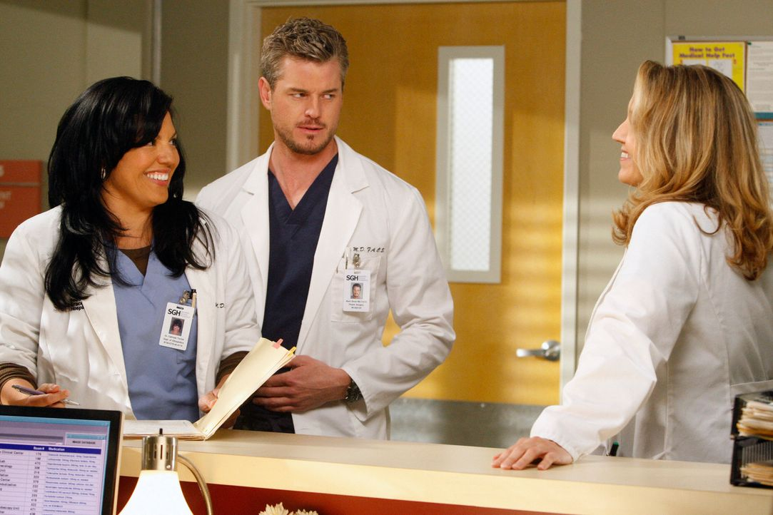 Spannung herrscht zwischen Erica (Brooke Smith, r.), Mark (Eric Dane, M.) und Callie (Sara Ramirez, l.) ... - Bildquelle: Touchstone Television