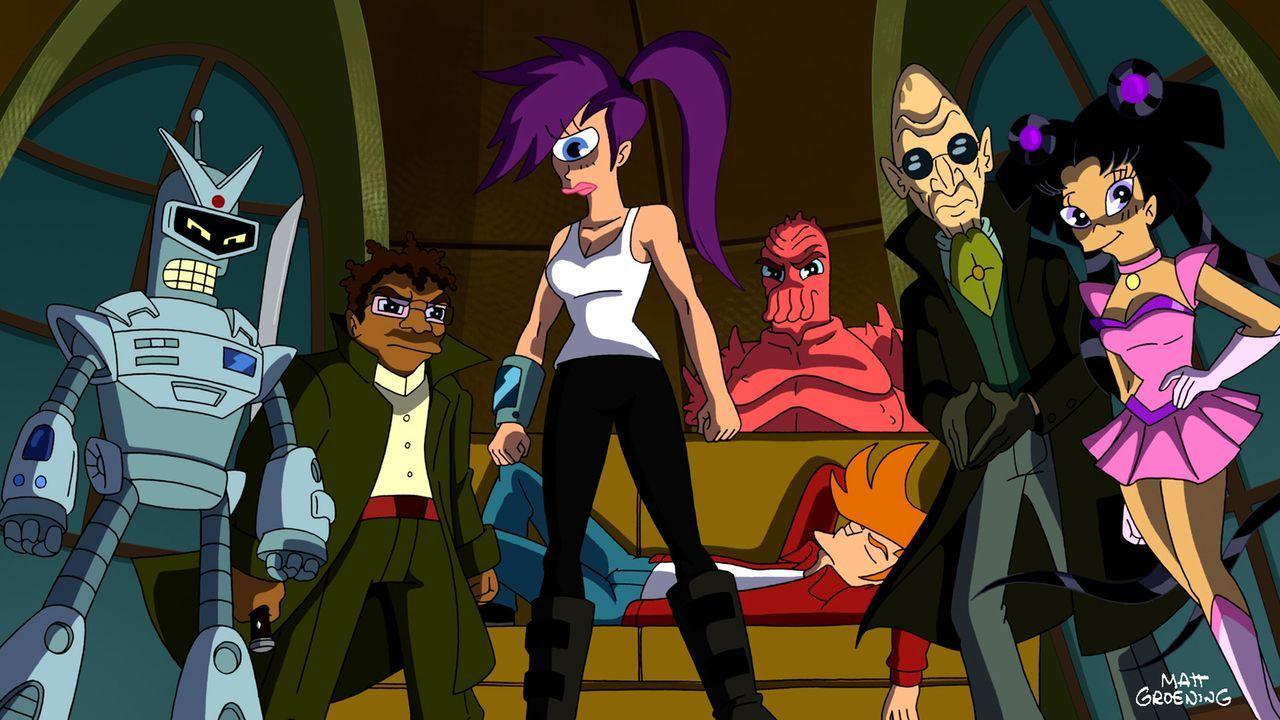 Bender (l.), Hermes (2.v.l.), Leela (3.v.l.), Fry (M.),  Zoidberg (3.v.r.), der Professor (2.v.r.) und Amy (r.) kämpfen für die Erde ... - Bildquelle: 2011 Twentieth Century Fox Film Corporation. All rights reserved.