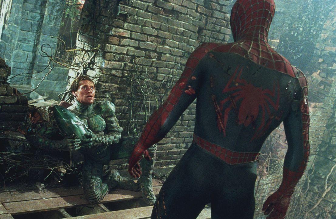 Spider-Man (Tobey Maguire, r.) ist es gelungen, seinen bösen Gegenspieler (Willem Dafoe, l.) in die Knie zu zwingen. Doch wird er ihn für immer un... - Bildquelle: 2003 Sony Pictures Television International