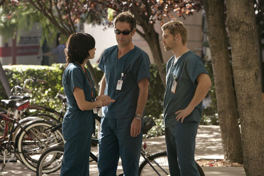 Diesmal gilt es ein junges Pärchen zu retten: Dr. Proctor (Jeremy Northam, M.), Dr. Zambrano (Lana Parilla, l.) und Dr. DeLeo (Mike Vogel, r.) such... - Bildquelle: Warner Brothers