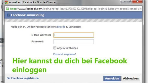 Facebook-Einloggen-Screen