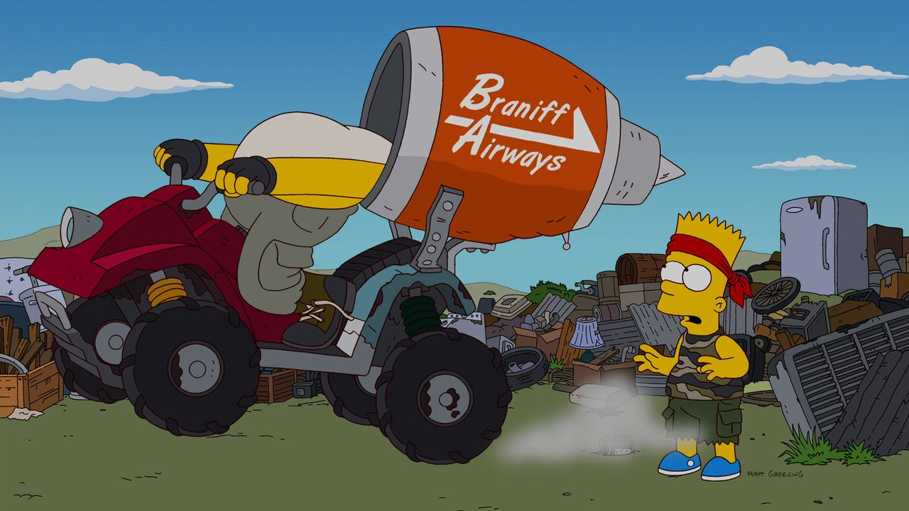 Fern der Heimat: Bart (r.) und Homer (l.) ... - Bildquelle: und TM Twentieth Century Fox Film Corporation - Alle Rechte vorbehalten
