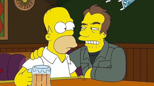 Die Simpsons - Nach einem Gespräch mit einem Unbekannten (r.) in Moes Taverne...