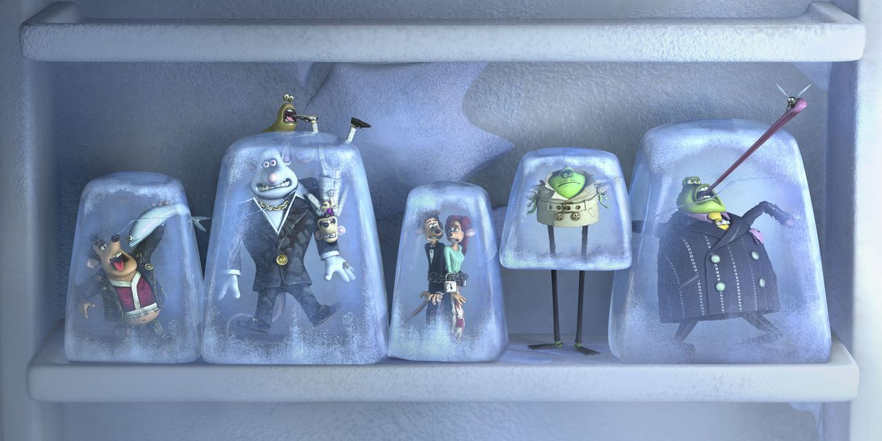Eine frostige Angelegenheit (v.l.n.r.): Können sich Sid, Whitey, Spike, Roddy, Rita, Le Frosch und Kröte aus dieser misslichen Lage befreien? - Bildquelle: DREAMWORKS ANIMATION LLC AND AARDMAN ANIMATIONS LTD. FLUSHED AWAY TM DREAMWORKS ANIMATION LLC. ALL RIGHTS RESERVED.