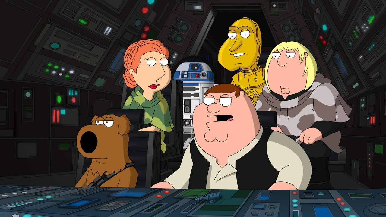 "Eine ganz besondere ""Star Wars""-Episode: Brian (vorne l.), Peter (vorne r.), Lois (hinten l.), Cleveland als R2-D2 (hinten 2.v.l.), Quagmire als C-3... - Bildquelle: 2011 Twentieth Century Fox Film Corporation. All rights reserved."