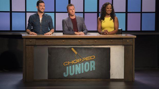 Die Chopped-Jury, bestehend aus  (v.l.n.r.) Sam Talbot, Marc Murphy und Boxer...