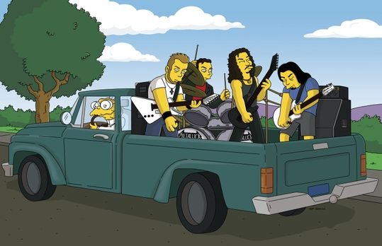 Die Simpsons - Hans Maulwurf (l.) nimmt die Band Metallica auf seinem Kleinla...