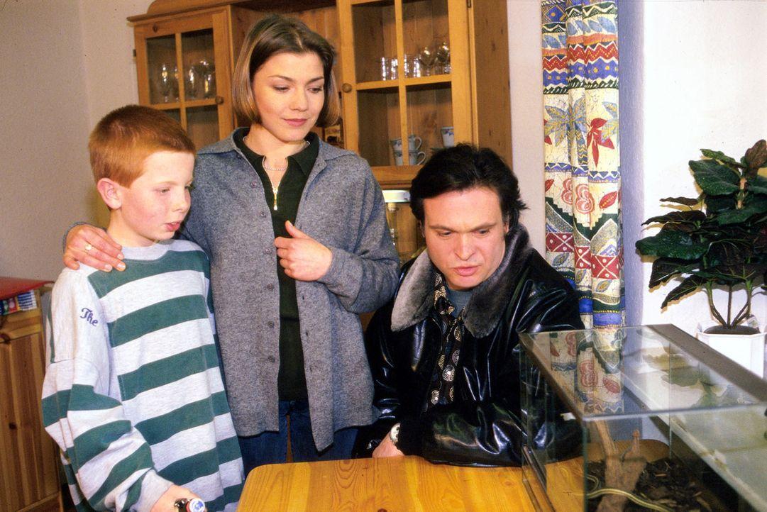 Thommy (Max Riedel, l.) hat ein Treffen zwischen Stephanie (Claudia Schmutzler, M.) und seinem Vater Marc (Jockel Tschiersch, r.) inszeniert, um die... - Bildquelle: Noreen Flynn Sat.1