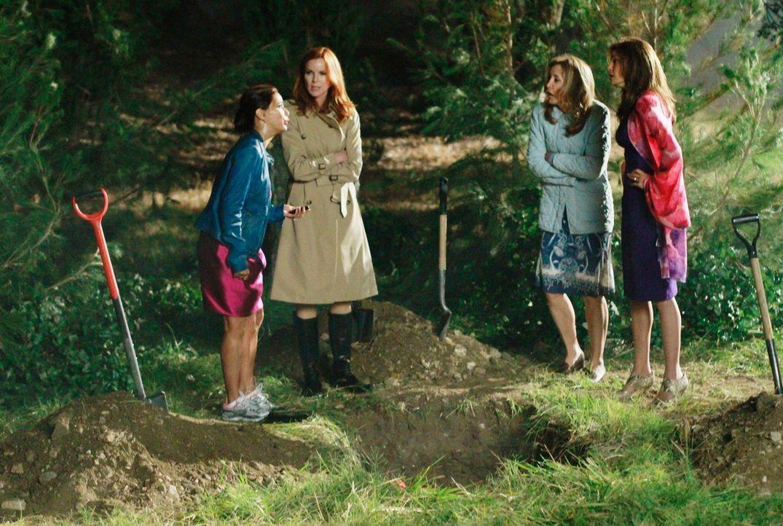 Nachdem die Party vorüber ist, haben Lynette (Felicity Huffman, 2.v.r.), Bree (Marcia Cross, 2.v.l.), Gabrielle (Eva Longoria, l.) und Susan (Teri H... - Bildquelle: Touchstone Pictures