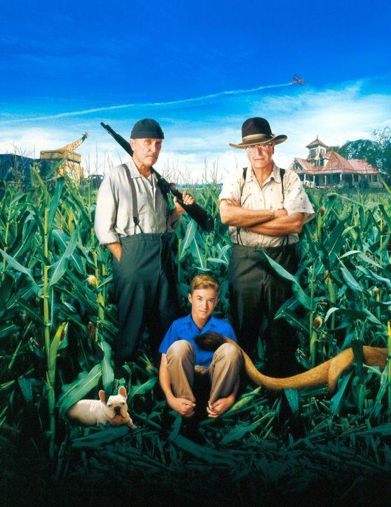 Während seines Aufenthalts bei seinen Onkels Hub (Robert Duvall, l.) und Garth (Michael Caine, r.) erfährt Walter (Haley Joel Osment, M.) Einzelhe... - Bildquelle: New Line Cinema