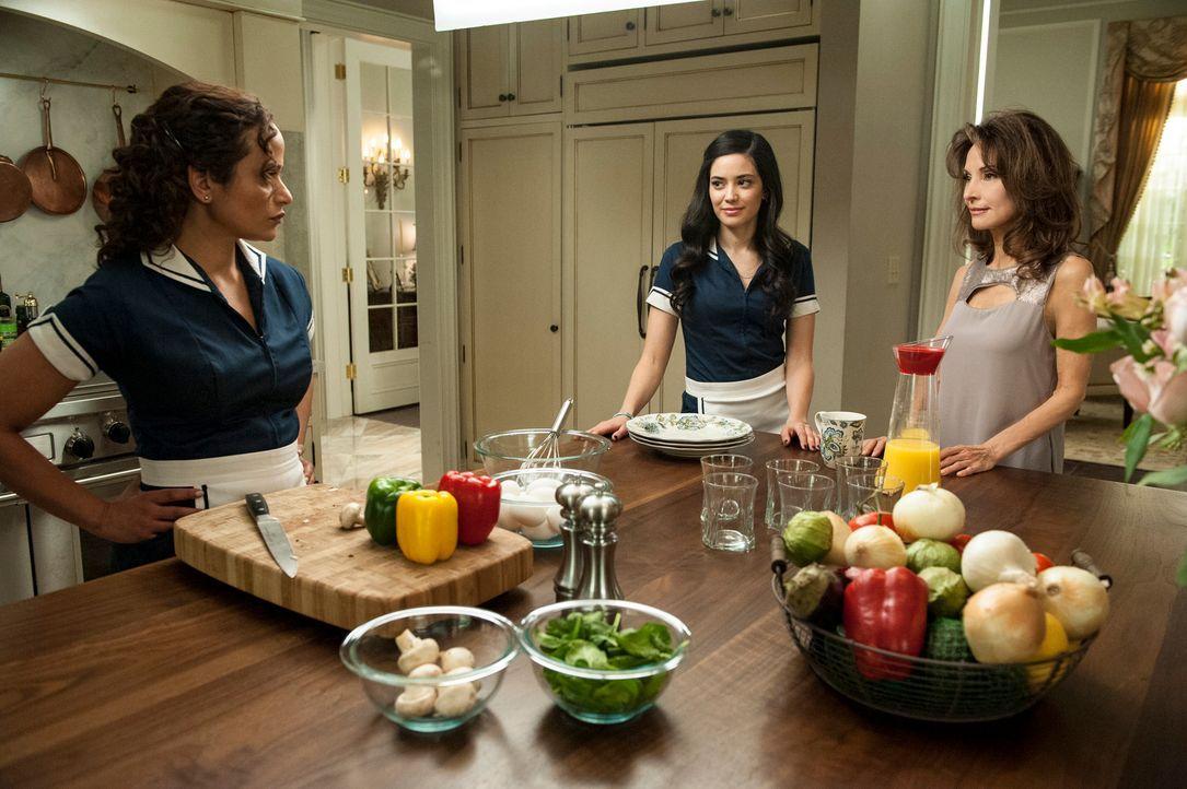 Zoila (Judy Reyes, l.) und Valentina (Edy Ganem, M.) werden zu Komplizinnen bei Genevieves (Susan Lucci, r.) Versuch, einen 76-jährigen blinden Mann... - Bildquelle: ABC Studios