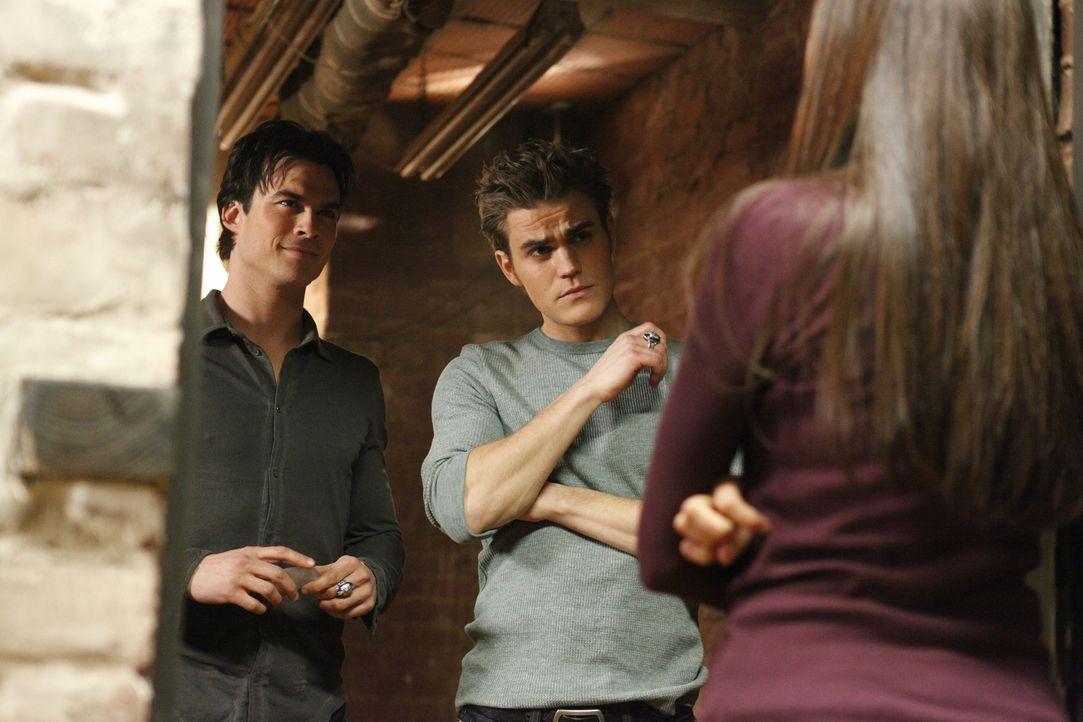 Spielen ab jetzt nach Elenas (Nina Dobrev, r.) Regeln: die Vampirbrüder Damon (Ian Somerhalder, l.) und Stefan Salvatore (Paul Wesley, M.)... - Bildquelle: Warner Brothers