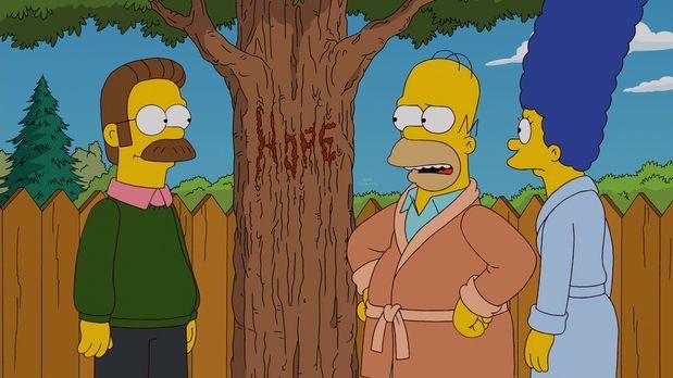 Die Simpsons - Mein Freund, der Wunderbaum: Ned Flanders (l.), Homer (M.) und...