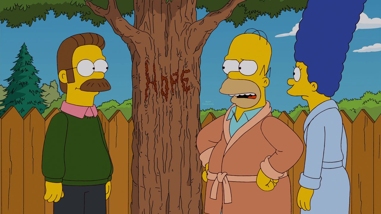 Mein Freund, der Wunderbaum: Ned Flanders (l.), Homer (M.) und Marge (r.) ... - Bildquelle: und TM Twentieth Century Fox Film Corporation - Alle Rechte vorbehalten