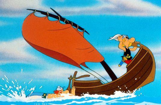 Asterix in Amerika - Obelix (l.) betätigt sich als Außenbordmotor, während As...