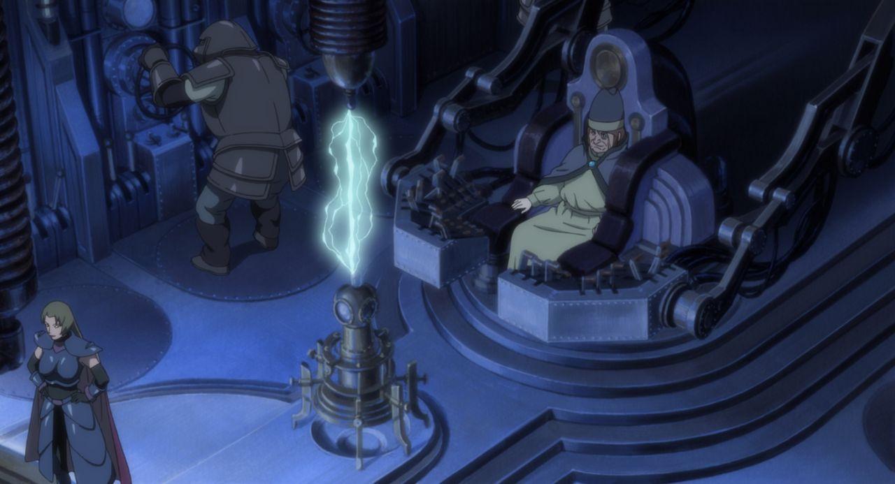 Temujins Meister Haido (r.) will mit dem Stein von Gelel eine Welt ohne Kriege - ein Utopia - erschaffen, während die anderen seines Clans den Stein... - Bildquelle: 2002 Masashi Kishimoto.   NMP 2005.