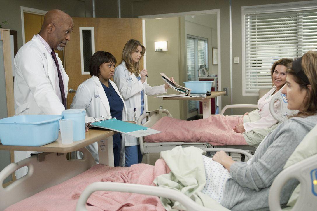 Webber (James Pickens, Jr., l.), Bailey (Chandra Wilson, 2.v.l.) und Meredith (Ellen Pompeo, M.) kümmern sich um Marcy (Peri Gilpin, 2.v.r.) und Ka... - Bildquelle: ABC Studios