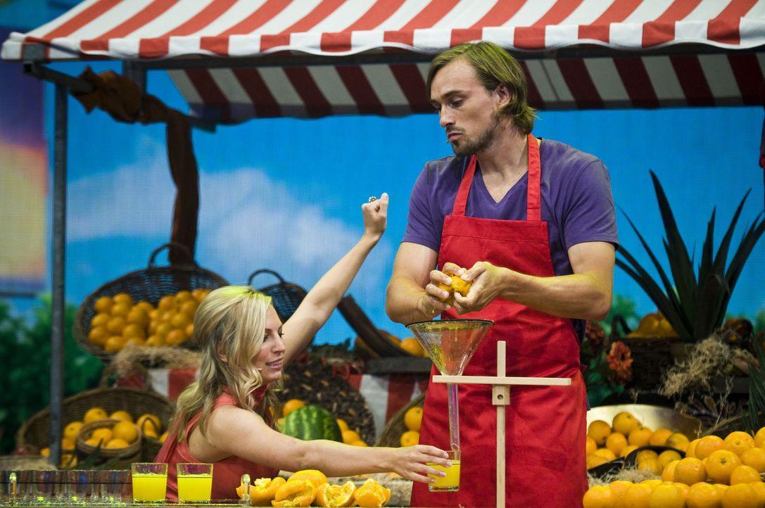 Wie viele Orangen kann Alexander (r.) in einer gewissen Zeit auspressen? Nora (l.) steht ihm bei der schwierigen Aufgabe bei. - Bildquelle: SAT.1