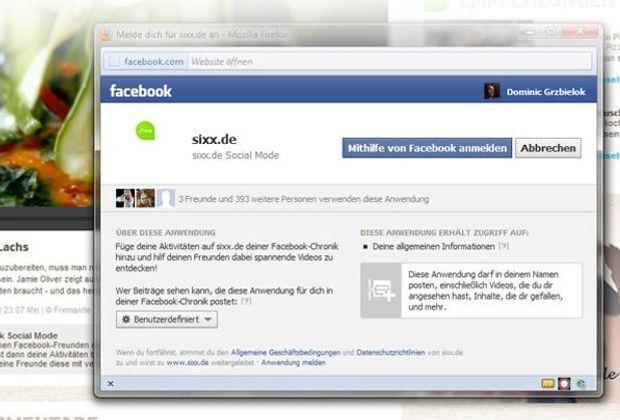 So sieht der Facebook-Permission-Dialog aus