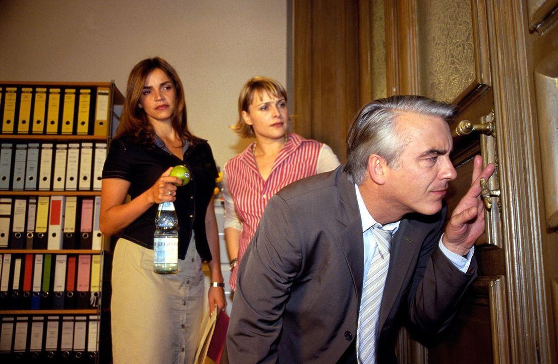 Sandra (Rebecca Immanuel, l.) und Biene (Isabel Tuengerthal, M.) fragen sich, wer oder was die ungezügelte Neugierde von Felix (Christoph M. Ohrt)... - Bildquelle: Hardy Spitz Sat.1