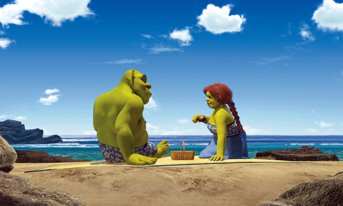 Als Shrek, l. und Prinzession Fiona, r. von ihrer Hochzeitsreise zurückkehren, werden sie von Fionas Eltern, dem König und der Königin des Königreic... - Bildquelle: DreamWorks SKG