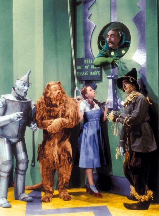 Auf dem Weg zum Zauberer von Oz begegnen die vier Freunde (v.l.n.r.: Jack Haley, Bert Lahr, Judy Garland, Ray Bolger) allerhand merkwürdigen Einwohn... - Bildquelle: Warner Bros.