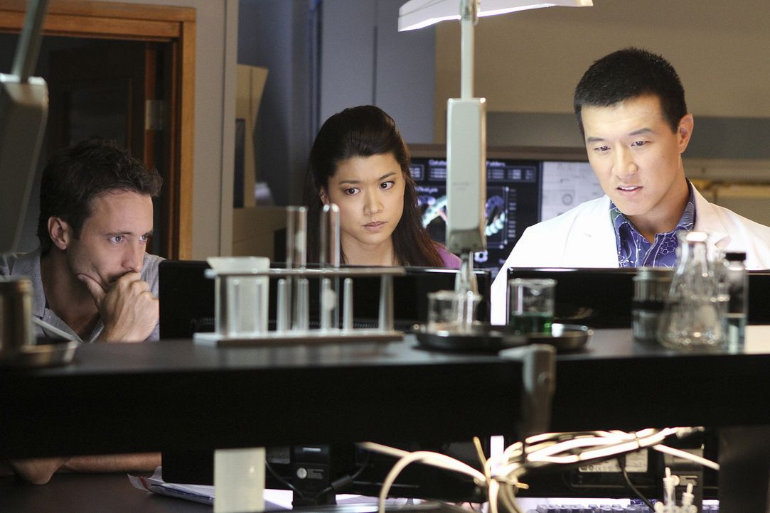 Ermitteln in einem neuen Fall: Steve (Alex O'Loughlin, l.) Kono (Grace Park, M.) und Charlie Fong (Brian Yang, r.) ... - Bildquelle: 2011 CBS BROADCASTING INC.  All Rights Reserved.