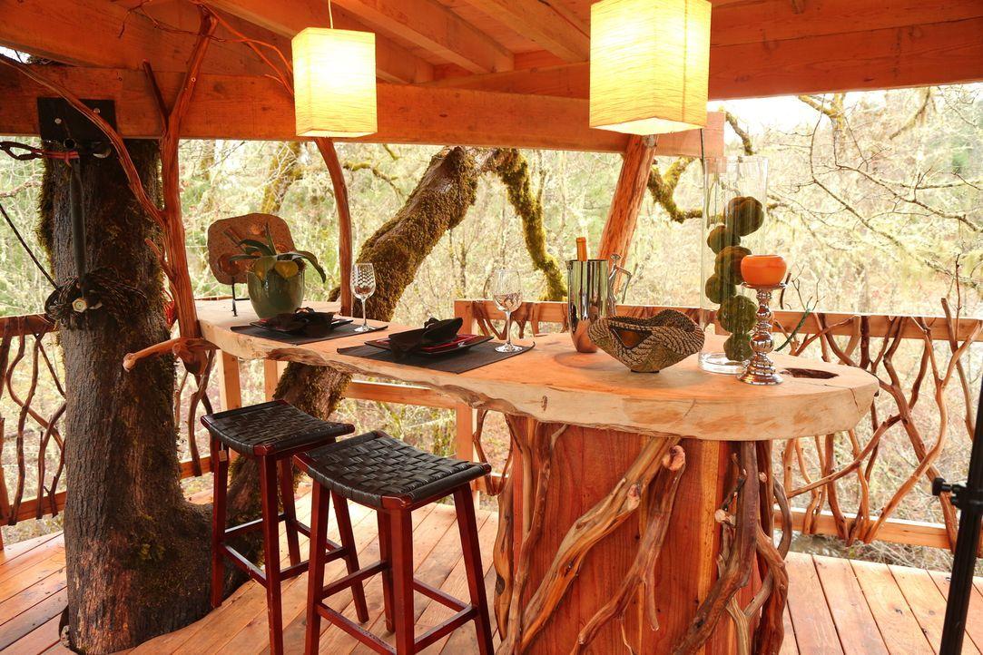 Mit viel Liebe zum Detail erschaffen die Baumhausbauer für den Bauherren und seine Verlobte eine gemütliche Herberge in einer 300 Jahre alten Eiche. - Bildquelle: 2015, DIY Network/Scripps Networks, LLC. All Rights Reserved.
