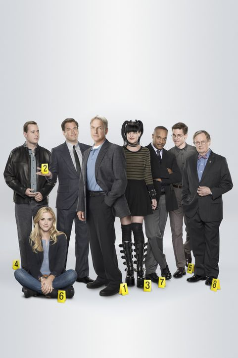 (13. Staffel) - Die Mitglieder des Naval Criminal Investigation Service: Abby (Pauley Perrette, 4.v.r.), Ducky (David McCallum, r.), Gibbs (Mark Har... - Bildquelle: CBS Television