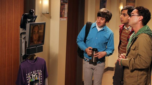 Sheldon (Jim Parsons, l.) kommuniziert über ein mobiles Gerät mit seinen Freu...